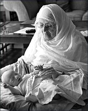 Basheer Khatoon with her great-grandson, Raahil.