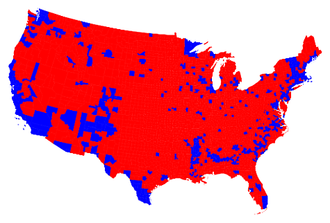 Red state, blue dot.
