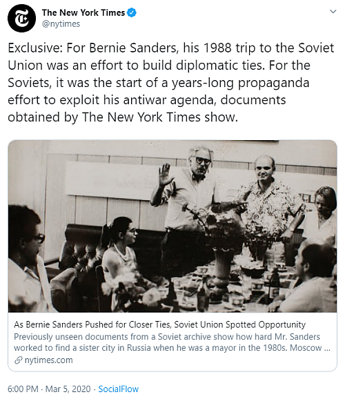 """""""Exclusive: For Bernie Sanders, his 1988 trip to the Soviet Union was an effort to build diplomatic ties. For the Soviets, it was the start of a years-long propaganda effort to exploit his antiwar agenda, documents obtained by The New York Times show."""""""
