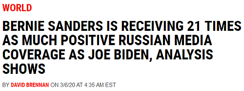 """Bernie Sanders Is Receiving 21 Times As Much Positive Russian Media Coverage As Joe Biden, Analysis Shows."""