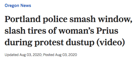 Portland police smash window, slash tires of woman's Prius during protest dustup.