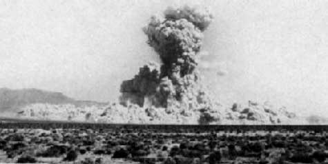 The 100 KT Sedan nuclear explosion, one of the Plowshares excavation tests, was buried at a depth of 635 feet.